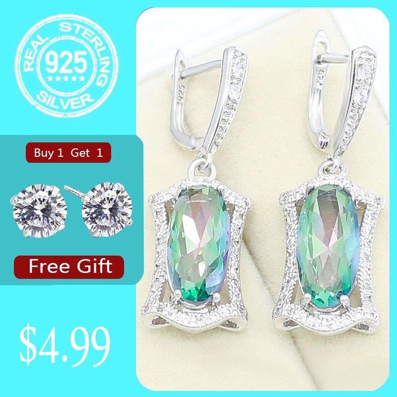 Rainbow Topaz 925 Sterling Silver Drop Earrings for Women Bridal Wedding Jewelry Free Gift