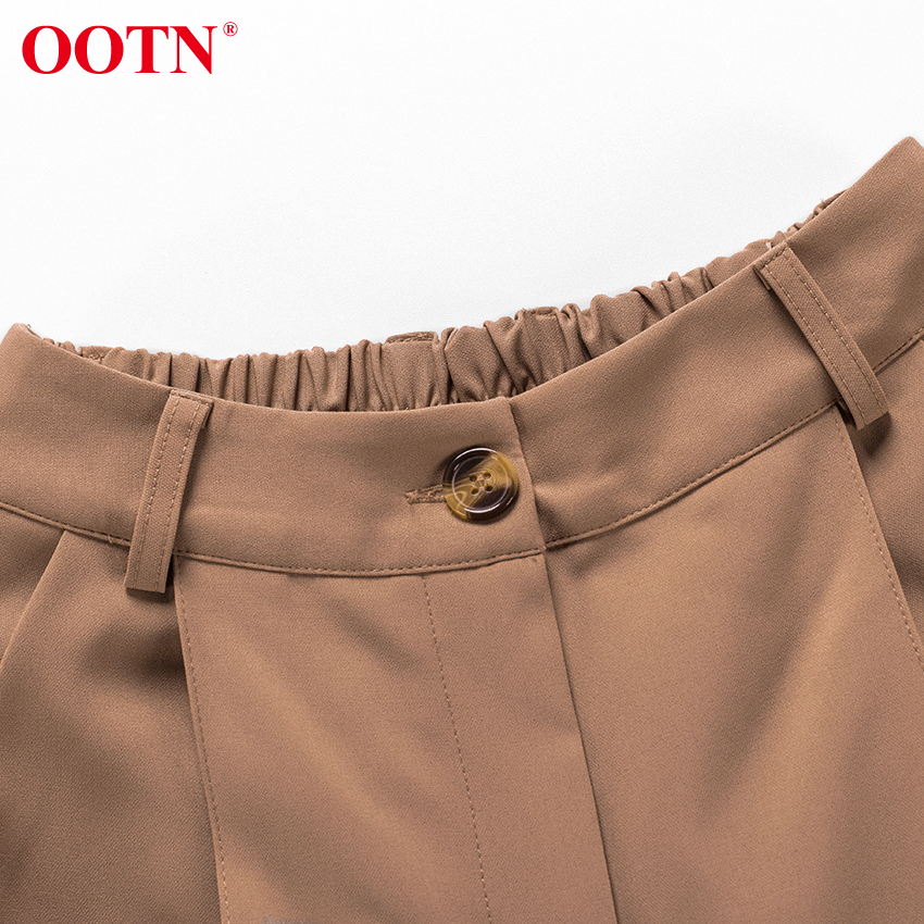 H59c26e7f7ec740d78efe05ea490f2916m - OOTN Casual High Waist Khaki Pants Women Summer Spring Brown Ladies Office Trousers Zipper Pocket Solid Female Pencil Pants