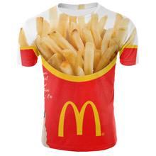 Camisetao de papitas fritas 3D para hombre, camiseta informel con estampado 3D, XXS-6XL, novedad de 2020