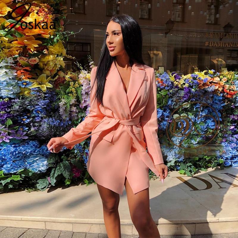 Joskaa 2019 Long Sleeve Wrapped Jacket Blazer with Belt Autumn Winter Women Streetwear Outfits Coat Windbreak