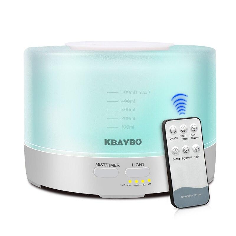 Humidificateur ultrasonique à télécommande d'arome d'air de 500ml avec le LED de 7 couleurs allume le diffuseur électrique d'arome d'huile essentielle d'aromathérapie