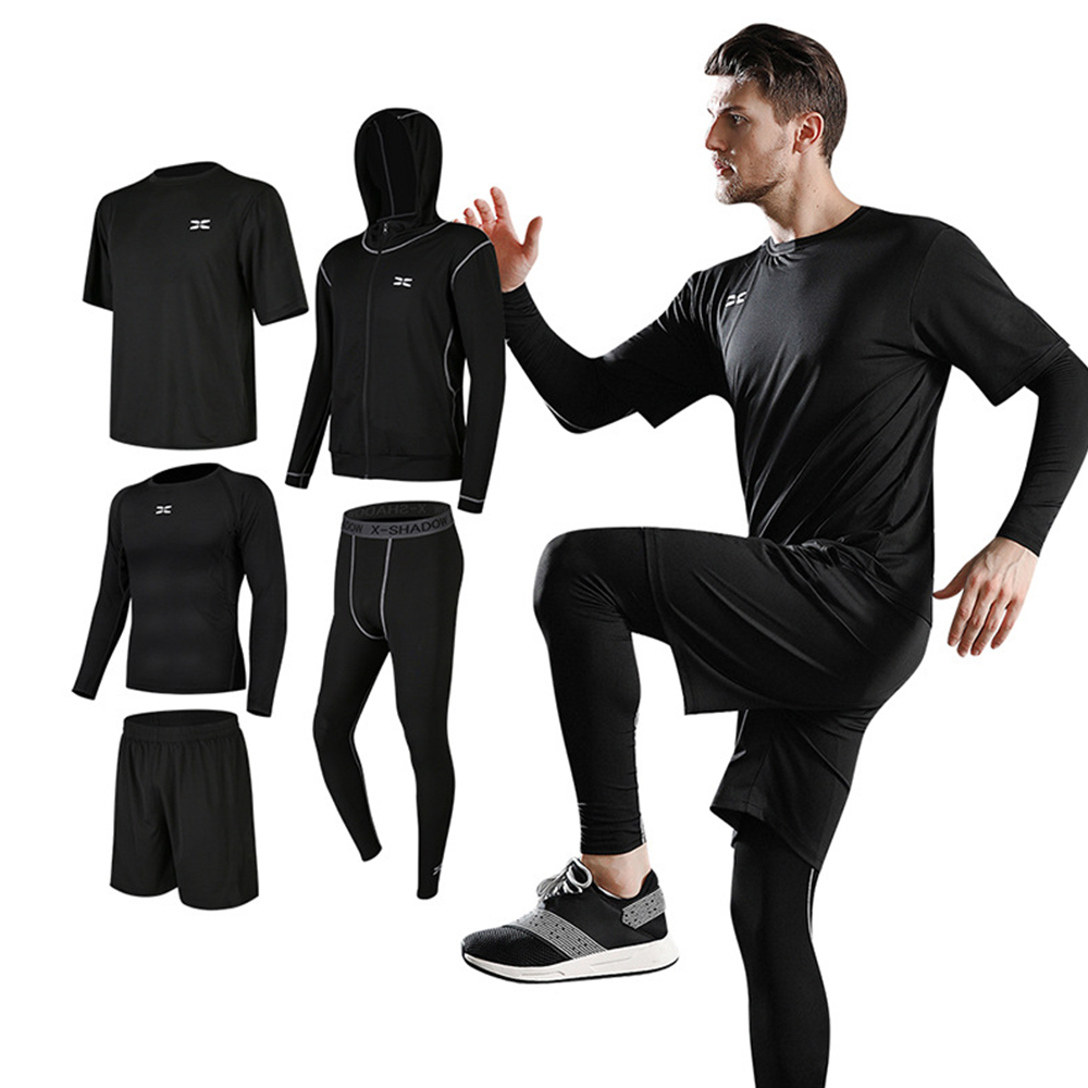 ICozzier 5 Pcs/Set Men's Tracksuit Gym Fitness Compression Sports Suit Clothes Running Sport Wear Exercise Workout Tights
