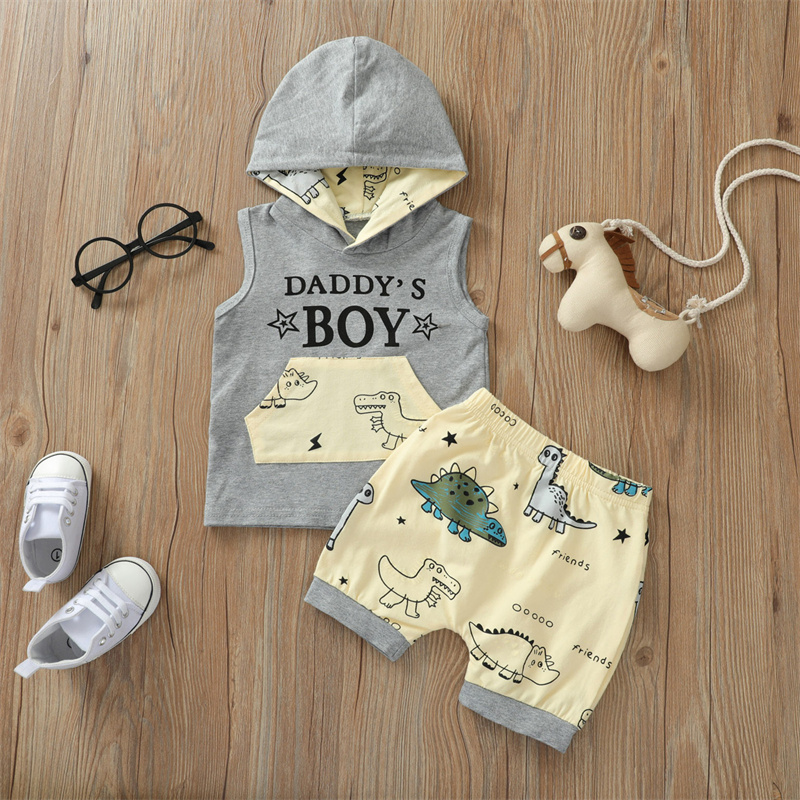 Short Clothes Pants for Summer,Boys Dinosaur Print Clothes Set, Sleeveless Hooded Tops with Front Pocket