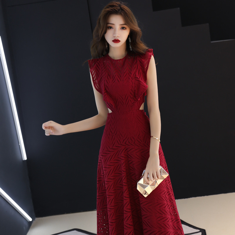 Celebrity Dresses Toast Dress The Bride, 2020 New Autumn And Winter Wedding Skirt To Show Thin Long High Appreciation Banquet