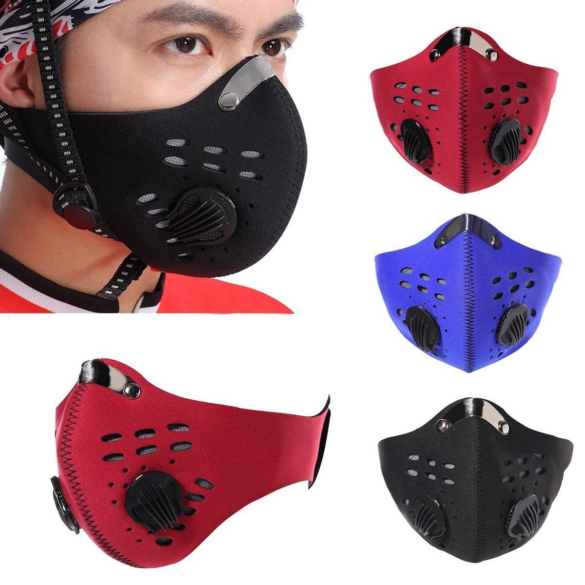 Cycling Bicycle Bike Motorcycle Racing Ski Anti Dust Half Face Mask Filter Black Blue Red