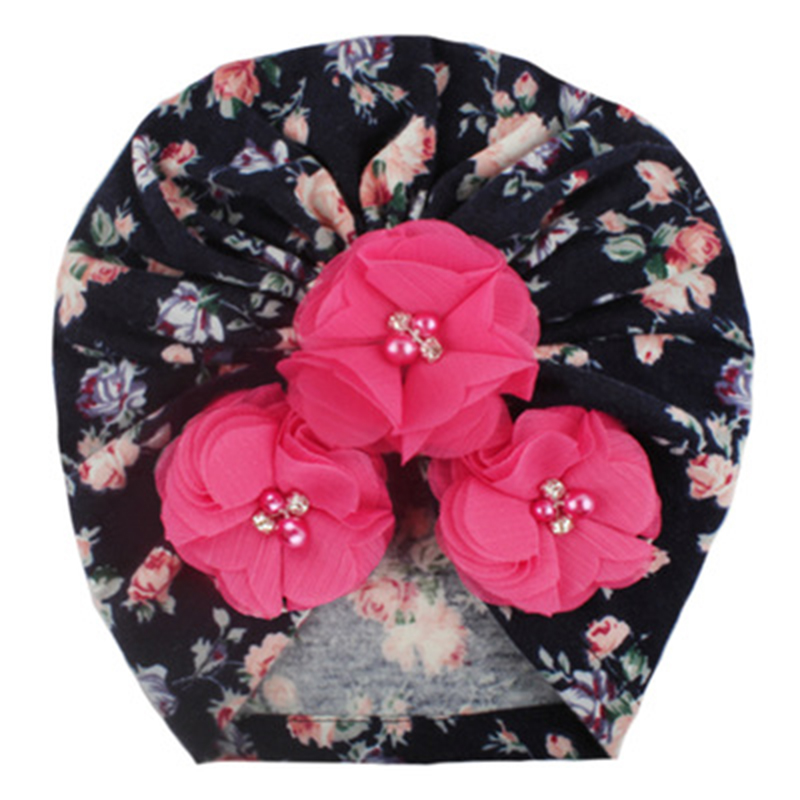 Print Baby Cap Girl Flower With Peral Cotton Soft Baby Turban Headband Handmade Elastic Baby Head Wrap Newborn Hair Accessories