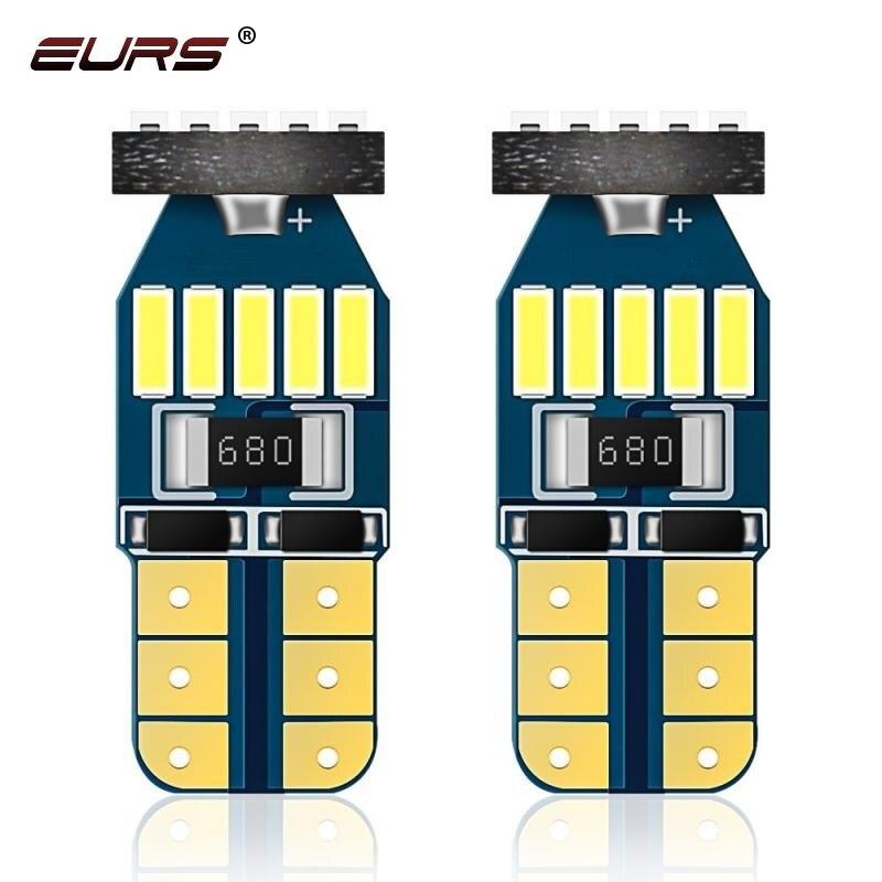 Светодиодные лампы EURS W5W T10 Canbus, 10 шт., автомобильные парковочные огни, внутреннее освещение для чтения, верхнее освещение, 4014 светодиодов, ав...