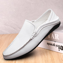 Genuine Leather Shoes Men loafers Moccasins White Mens Driving Shoes Italian Loafers Shoes Handmade Flats Casual Dress Shoes(China)