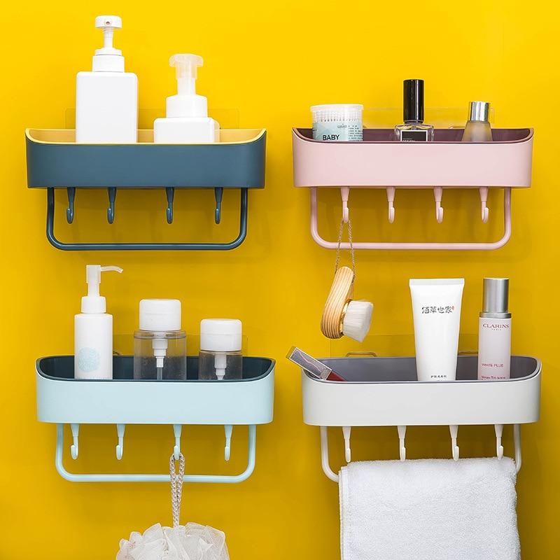 Bathroom Shelf Wall Mounted Shampoo Shower Shelves Holder Storage Rack Waterproof Organizer Towel Hanging Hook Accessories