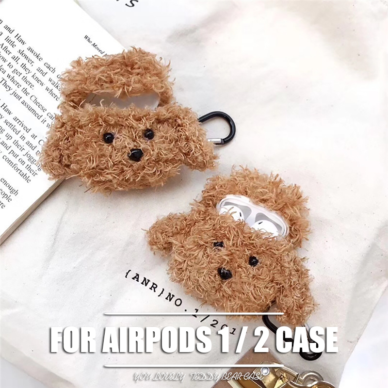 Akcoo Teddy Bear flush <font><b>Case</b></font> for Airpods 1 2 Bluetooth Earphone Charge <font><b>Case</b></font> with hook for <font><b>TWS</b></font> i9s 10 12 18 19 bag <font><b>case</b></font> cover image