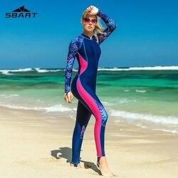 Sbart fino impresso manga longa rash guard feminino uma peça maiôs de banho feminino zip up surf wetsuits fatos de banho natação