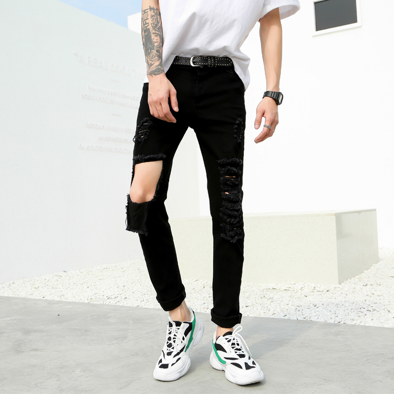 Men's Trousers Wear Loose Slimming-Holes Summer Casual Autumn Young Versatile Micro-Shot