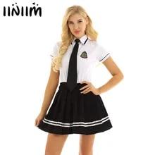 Cosplay Sexy Costumes Uniform Halloween Adult School-Girl Womens Iiniim with Pleated-Skirt