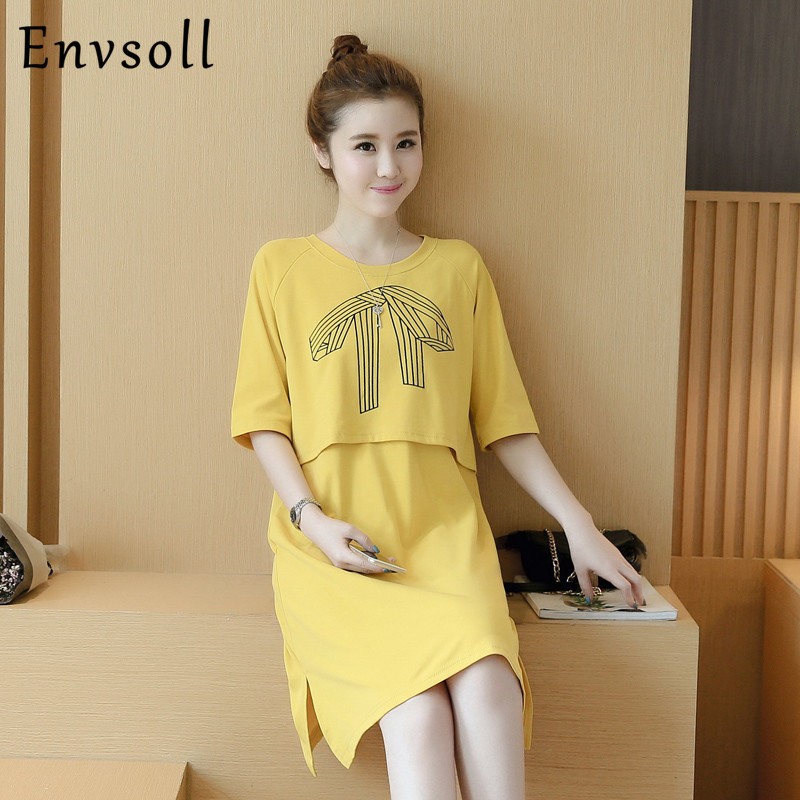 Print Maternity Clothes For Breastfeeding Mid Sleeve Nursing Dresses Cotton Pregnancy Clothing For Pregnant Women W12
