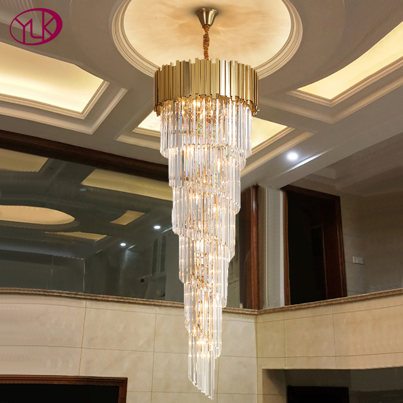 Top Luxury Modern Chandelier Lighting For Staircase Long Gold Crystal Light Fixtures Large Hallway Indoor Stair LED Cristal Lamp