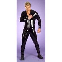 Masculino sexy molhado olhar fetiche látex ds boate catsuit pvc trajes cosplay corpo terno preto patente couro erótico collant geral