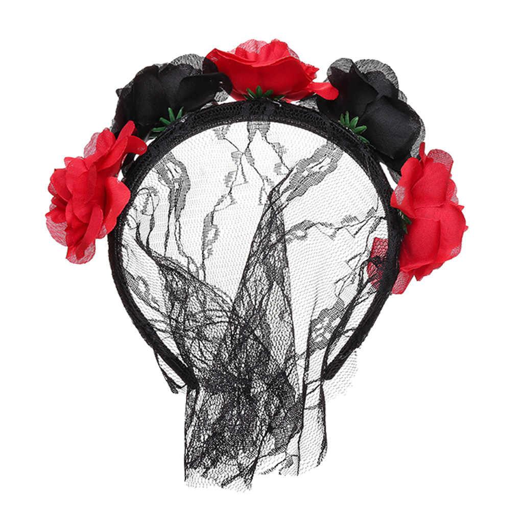 大人パーティークリスマスフェスティバルヘアアクセサリーウェディングかぶとドレス帽子黒赤でベール花
