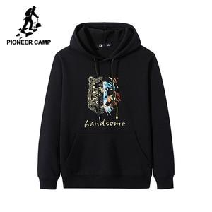Image 1 - Pioneer Camp Streetwear Fashion Hoodies Men 100% Cotton Hooded Black White Causal Sweatshirts Male AWY906403