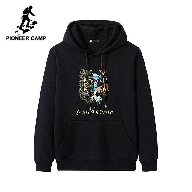 Pioneer Camp Streetwear Fashion Hoodies Men 100% Cotton Hooded Black White Causal Sweatshirts Male AWY906403