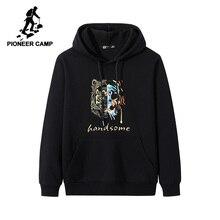 Pioneer Campo Streetwear Moda Felpe Degli Uomini di 100% Cotone Con Cappuccio Nero Bianco Causale Felpe Uomo AWY906403