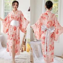 Robe Kimono Sakura japonaise pour femmes, tenue longue et Sexy, en mousseline de soie, Style japonais, Yukata, Kawaii