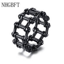 NHGBFT 12mm Hollow Bicycle chain ring For Mens Stainless Steel Punk ring Wedding Party Jewelry Dropshipping nhgbft punk style tire spinner chain rings for mens stainless steel black color biker ring male jewelry