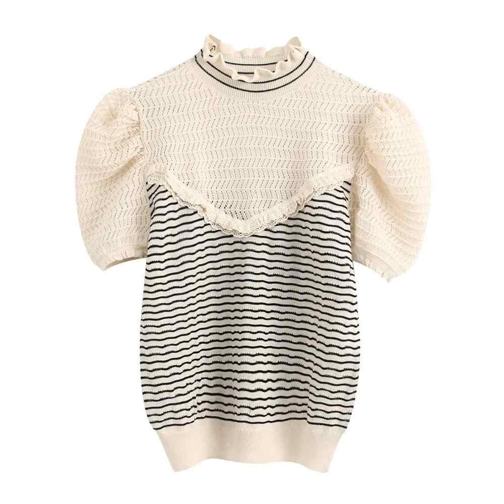 2020 새로운 여름 여성 스트라이프 조합 높은 칼라 짧은 소매 스웨터 프릴 트림 대조 패브릭 여성 스웨터