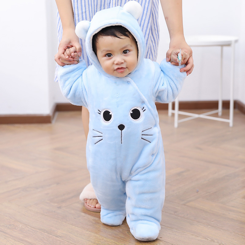 Newborn Baby Footies Cute Style Infant Winter Overalls Fleece Toddler Baby Girls Boys Pajamas Baby Clothes 0-12 Months