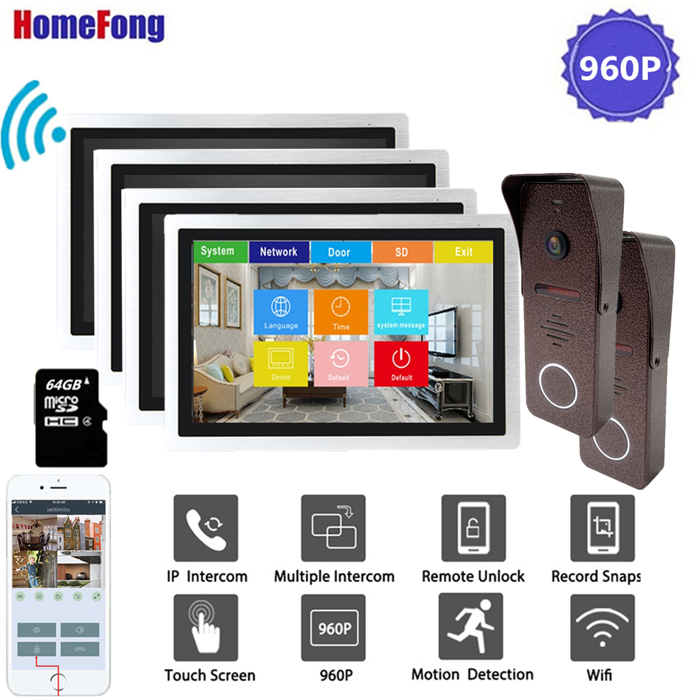 Homefong 10 Inch Wireless Video Intercom Video Door Phone Doorbell Camera Wifi 4 Monitors 2 Doorbells