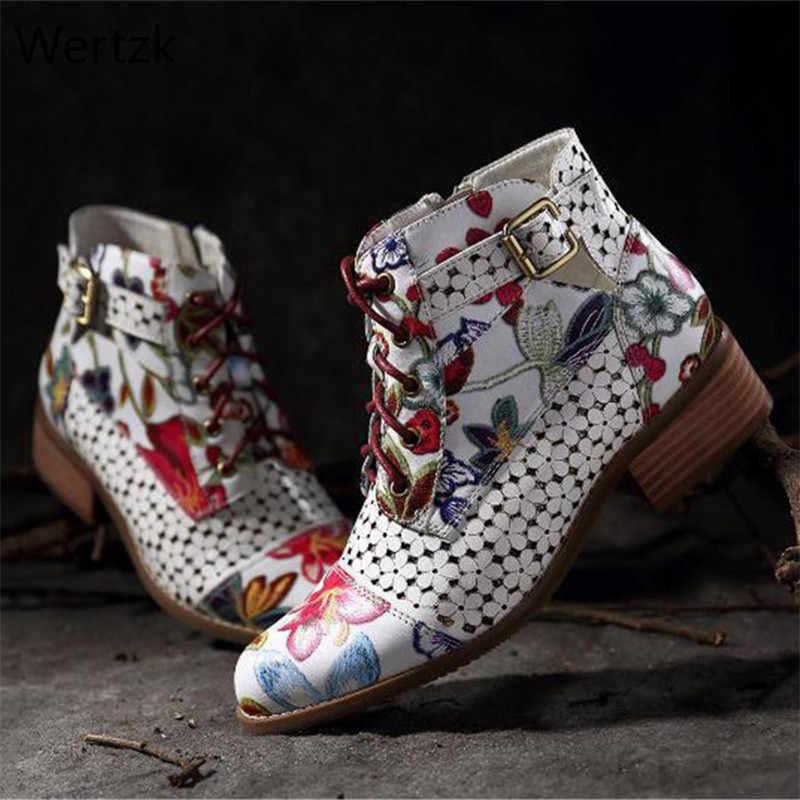 Tinta pintura flor patrón Botas mujeres vaca cuero empalme encaje-Up costura zapatos Botas Feminina damas Laarzen tobillo BootA729