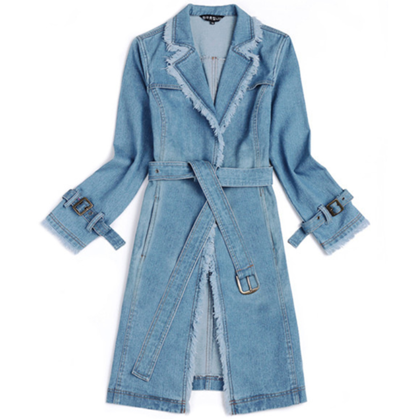 New Loose Coat Plus Size Trench Womens Long Denim Trench Coat Women Outerwear
