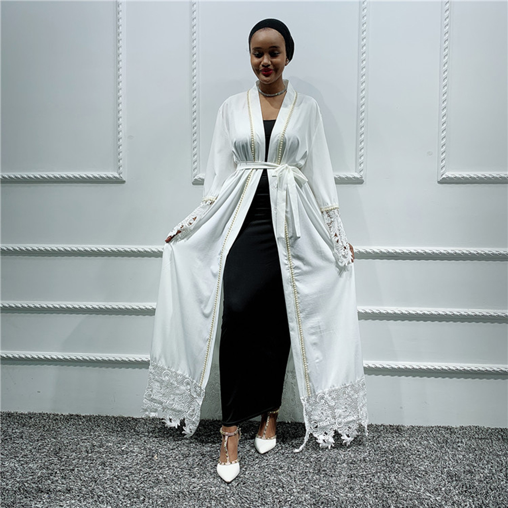 Women White Abaya Kimono Kaftan Dubai Muslim Dress Cardigan Ramadan Islamic Clothing Robe Musulmane Femme Turkey Arabes Mujer