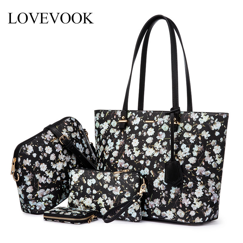 LOVEVOOK women handbags bag set 4 pcs shoulder bag Tote Hobo ctossbody bags for ladies 2020 clutch female and wallet card holder image