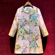 Outwear Trench-Coat Svoryxiu Women's Flower-Print Pink Autumn Designer Winter Fashion