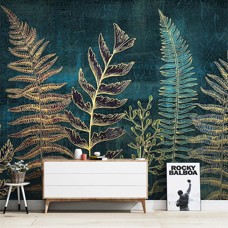 Custom Mural Wallpaper 3D Stereo Golden Lines Plant Leaves Fresco Living Room TV Bedroom Home Decor Modern Simple Wallpapers 3 D