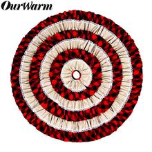 OurWarm 48 Pleat Christmas Tree Skirt Burlap Round Carpet Floor Mat Cover Plaid Xmas Tree Skirt Christmas Decoration for Home