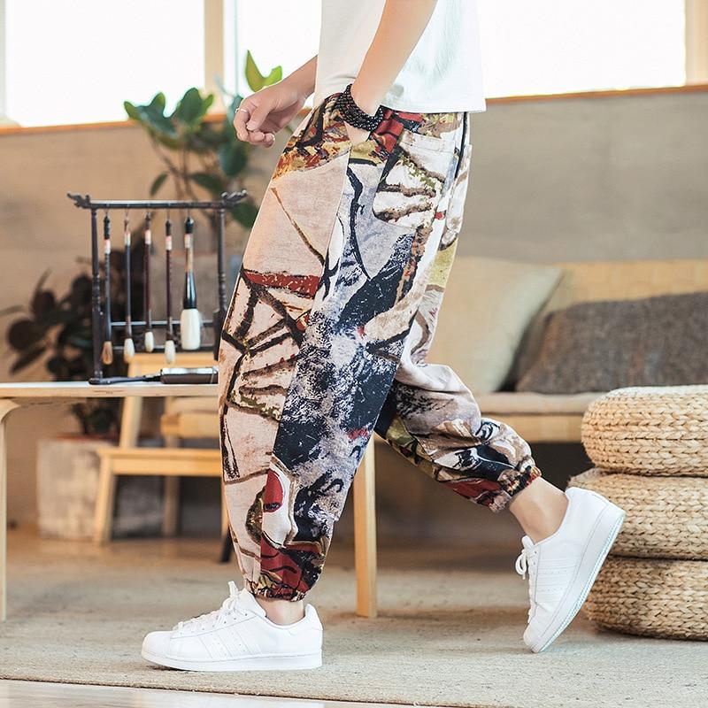Summer Printed Thin Line Pants Men Breathable Cotton Casual Plus Size Crotch Harem Kidoriman Loose Trousers Pantalon Travail