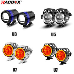 2 pçs branco moto rcycle faróis lâmpada auxiliar u3 u5 u7 led moto rbike spotlight acessórios 12 v moto drl ponto cabeça luzes