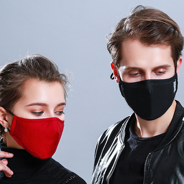 Tcare * Cotton Black Mouth Face Mask with 2 Activated Carbon Filter Windproof Mouth-muffle for Men Women Black Fashion 5