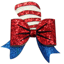 4.5 inch Glitter red and blue Hair Clip Synthetic Leather Bow Accessories for girls