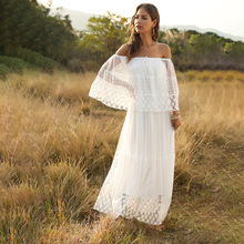 Summer Hollow Out Lace Dress Women Beach Style Slash Neck Loose Ankle Length Whi