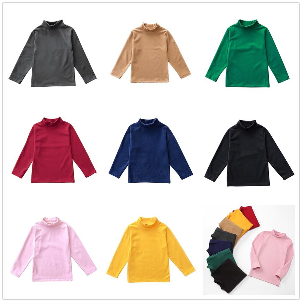 Solid Boys T-Shirts Autumn Long Sleeve Turtleneck High Collar Tee Shirts Warmer Girls Bottoming Shirt Kids Top underwear 2-16Y 1