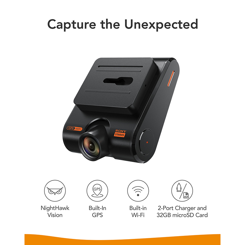 Anker Roav Dash Cam S1, Dashboard Camera with Sony Sensor, Full HD 1080p, NightHawk Vision,Built In GPS, Wi Fi & Wide Angle Lens - 2