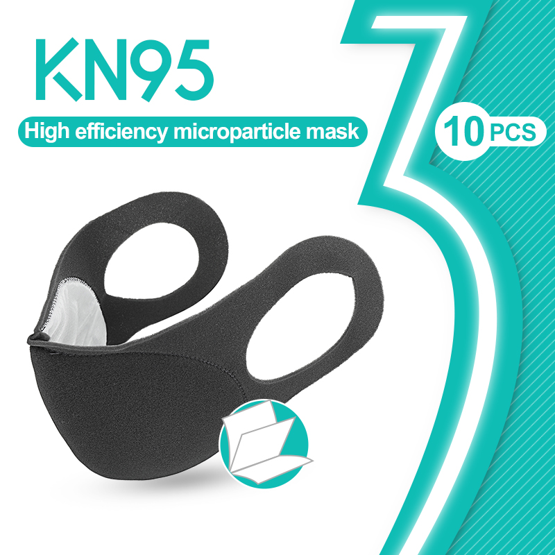 10PCS KN95 Face Masks Particle Filter Respirator  Prevention Reusable Protective Face Mouth Mask Cap Disposable Filter Pad
