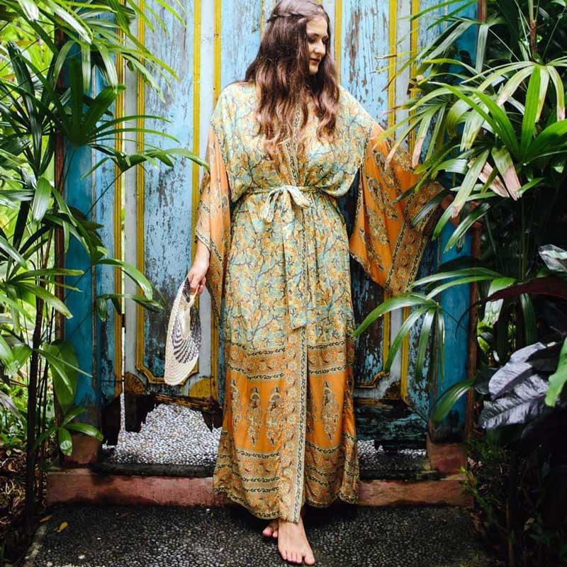 2018-women-s-Wrapped-boho-dress-floral-print-summer-dresses-V-neck-3-4-kimono-sleeve