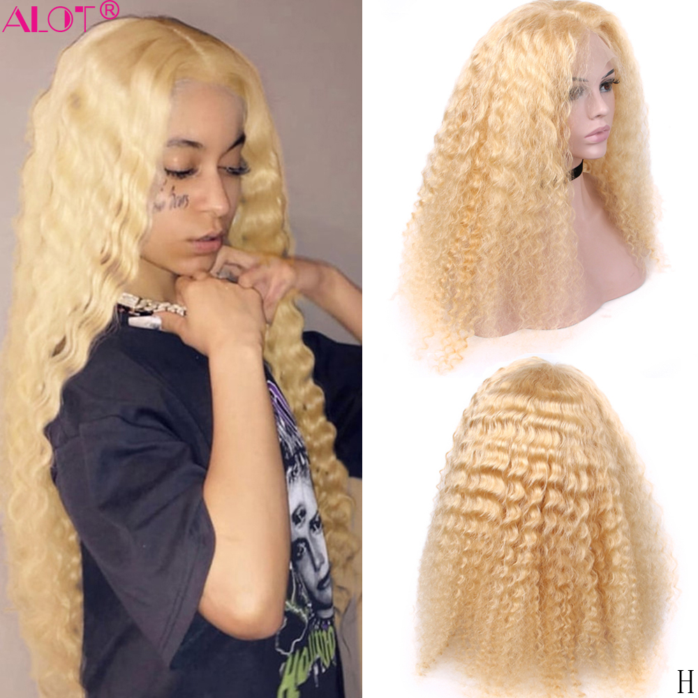 613 loira laço perucas de cabelo humano remy glueless brasileiro onda profunda loira 13x1 parte do laço peruca 150% pré arrancado parte do meio peruca