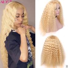 613 блондинка кружево парики из натуральных волос волосы Remy бразильский глубокая волна блондинка 13x1 кружевной парик из 150% предварительно вы...