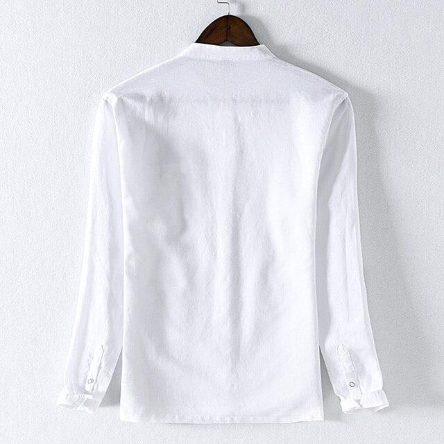 Nouveauté coton avec des chemises en lin hommes marque chemise de mode pour hommes décontracté chemise rose hommes solide confortable chemises mâle camisa