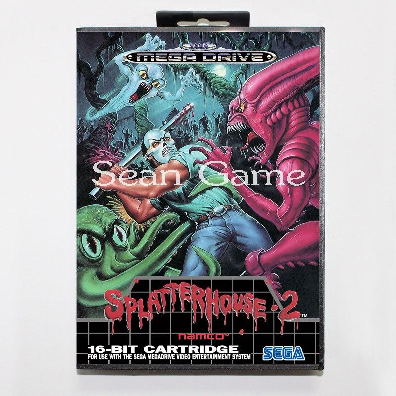 Elevata prestazione 16 Bit MD Game Card for Sega Mega Drive Splatter House 2 Cover With Retail Box