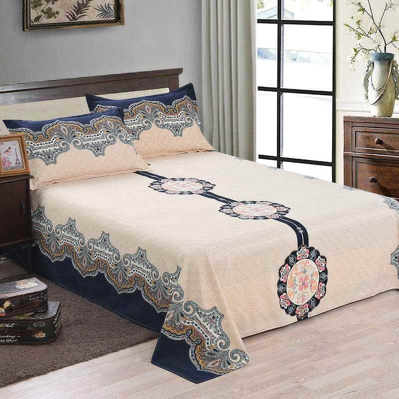 Sanding Soft Flat Sheet Comfortable Floral BedSheets Twin Full Queen Size Bed Sheet 210x230cm